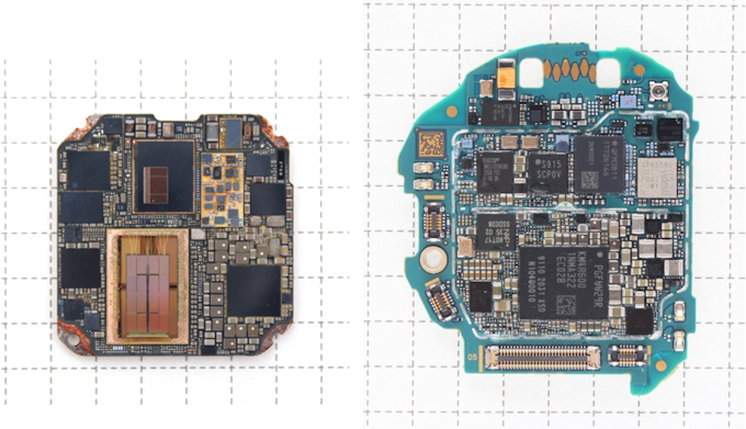 Comparison of system-in-package in Apple Watch SE and main printed circuit board in Samsung Galaxy Watch3